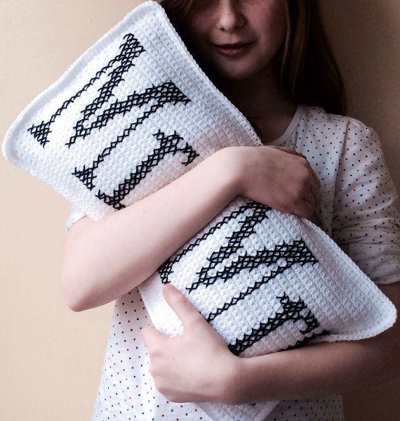 Mr & Mrs Crochet Cushion Wedding, Anniversary Gift