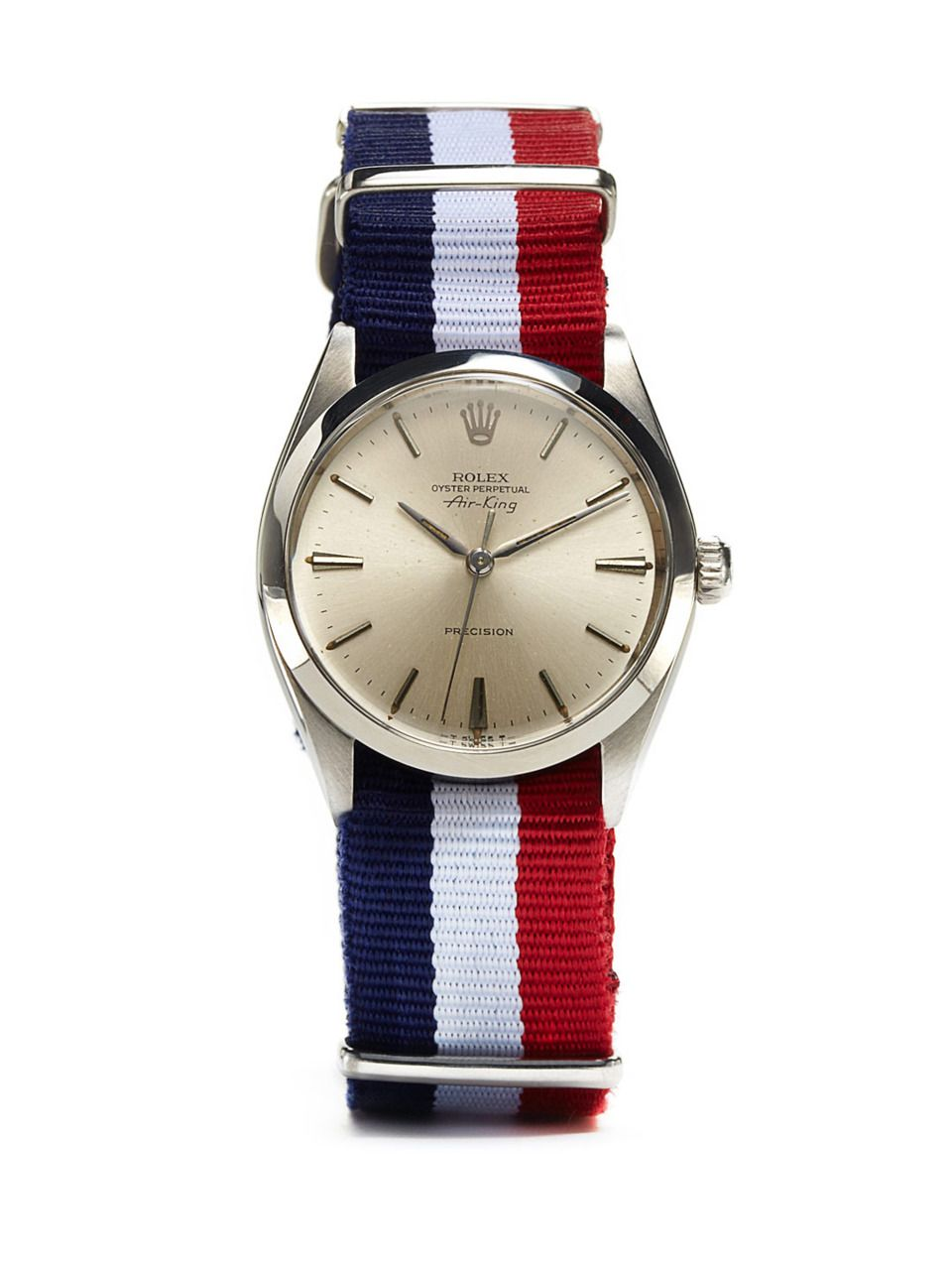 Rolex-Oyster-Perpetual-Air-King-Precision-c.-1966-with-French-Flag-NATO-Strap-at-Park-Bond.jpeg (960×1280)