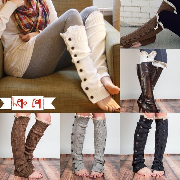 "1 HR SALEIVY-ROSE plush beauties - 3 colors PRICE IS FOR ONE PAIRWrap you legs in the lacy knit comfort of our full button leg warmers. With hand-brushed acrylic yarn and buttons these open knit boot toppers will be your new favorite accessory!    Materials: Crafted from 100% hand-brushed acrylic yarn Accommodates up to 19"" circumference calves  Product Specifications  Length: 21"" Circumference 10.5"" AVAILABLE IN BLACK, COCOA, & GREY Accessories"