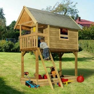 cabane enfant sur pilotis avec bac sable merlon cabane. Black Bedroom Furniture Sets. Home Design Ideas