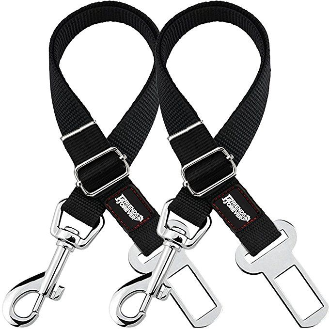 Friends Forever 2 Pack Adjustable Black Nylon Dog Cat Car Seat Belt