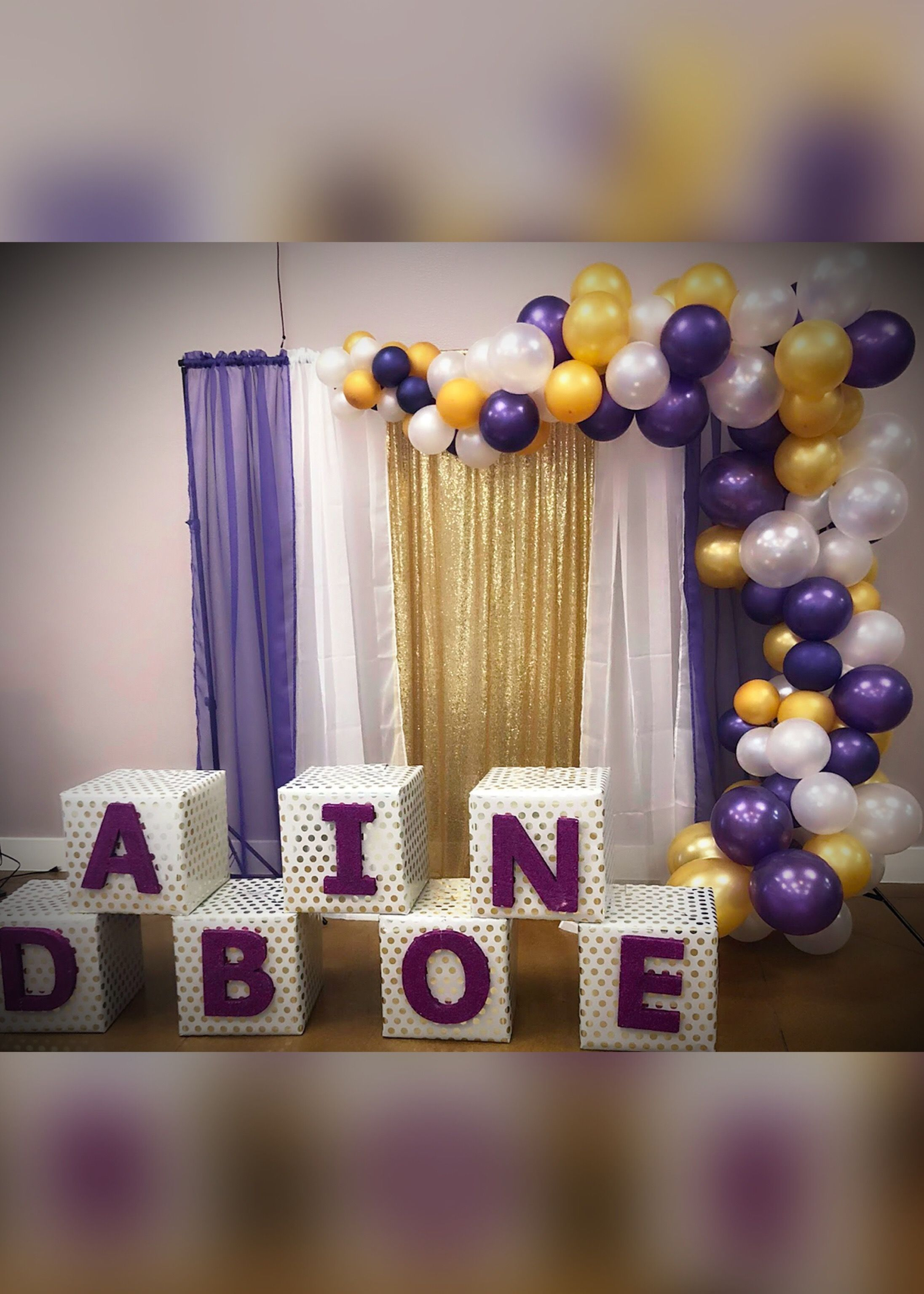 Backdrop With Purple White And Gold Sheers And Purple Gold And White Ball Gold Baby Shower Decorations White Party Decorations Purple Gold Party Decorations