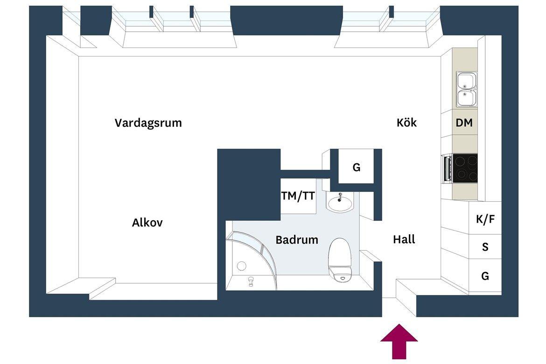 Piso de 38 m² con planta abierta | Planta abierta, Pisos y Tiendas ...