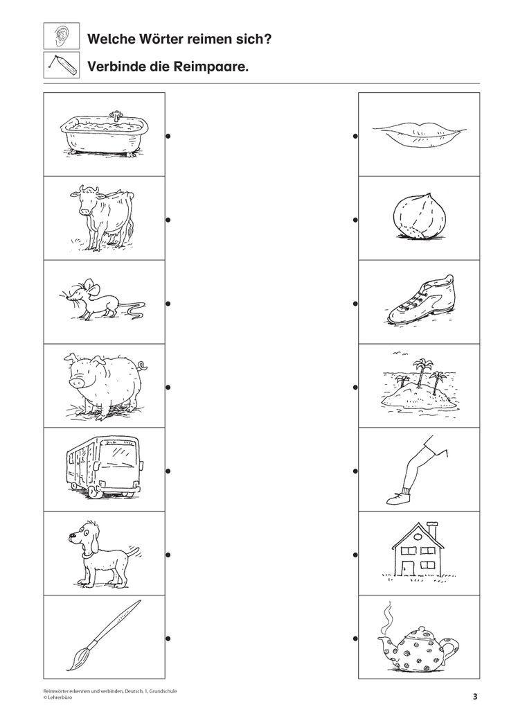 rhyming words german 1st grade elementary education reading kindergarten portfolio. Black Bedroom Furniture Sets. Home Design Ideas