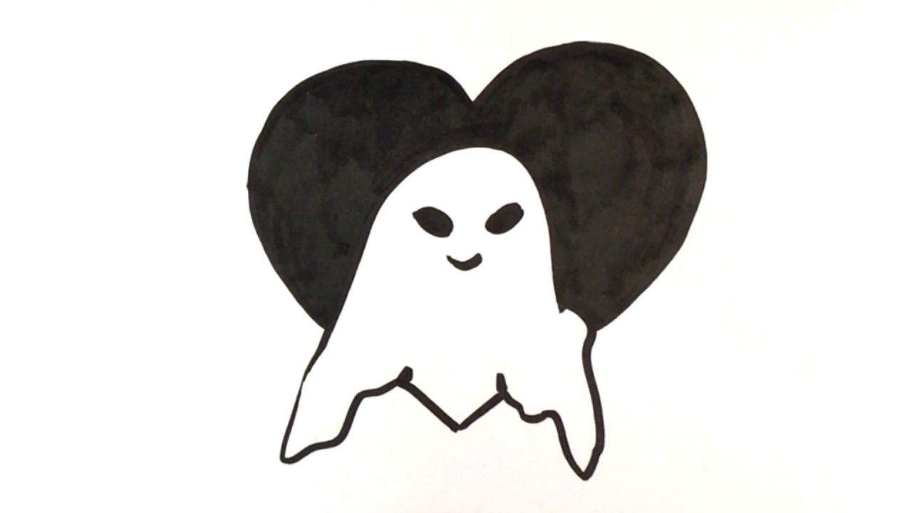 How To Draw A Ghost Heart Halloween Drawings I Feel This One Is