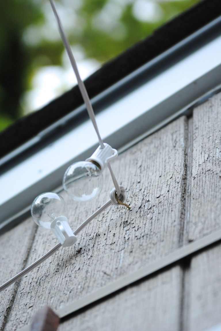 THIS: how to hang outdoor lights! What an easy and inexpensive ... on inexpensive patio lighting ideas, inexpensive basement lighting ideas, inexpensive kitchen lighting ideas,