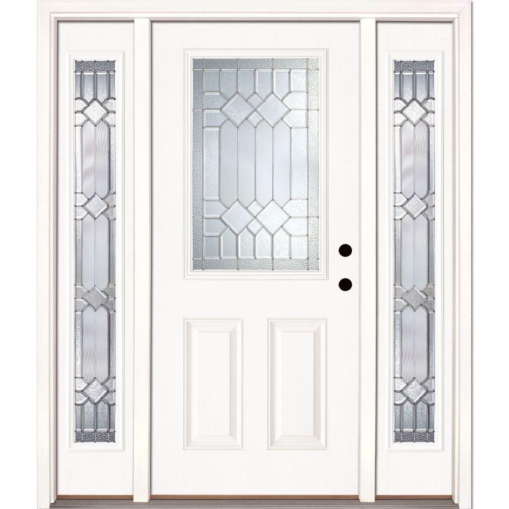 Feather River Doors 63 5 In X81 625 In Mission Pointe Zinc 1 2 Lite Unfinished Smooth Left Hand Fiberglass Prehung Front Door W Sidelites Smooth Entry Door With Sidelights Fiberglass Entry Doors Entry Doors