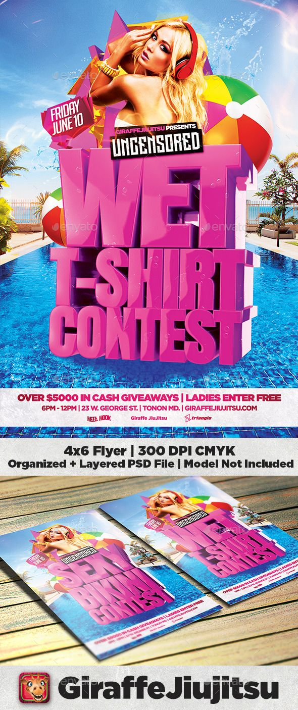 Wet T Shirt  Bikini Contest Flyer Template  Flyer Template Psd