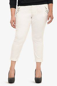 Torrid Denim - White Studded Cropped Chino Pants | Sweet & Sexy