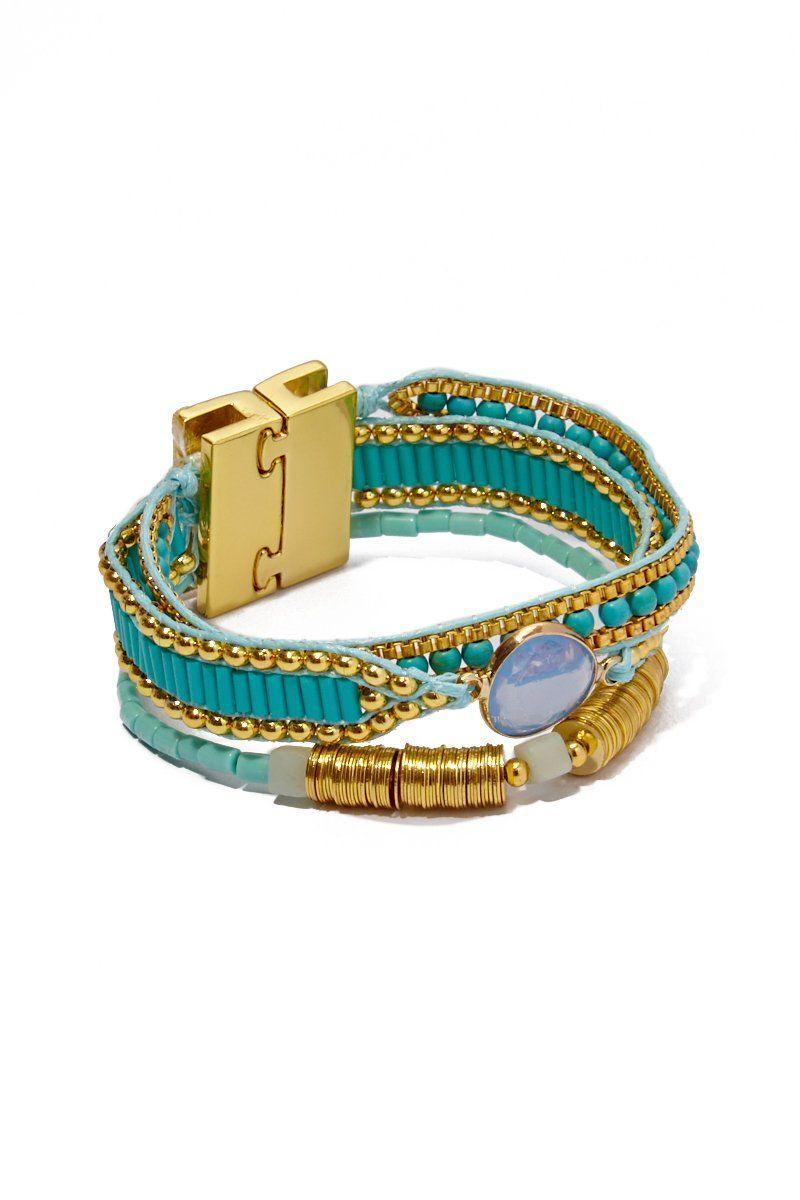 f5fcc0f2fa5 Turquoise  HIPANEMA AMENAPIH Bianca Mini Bracelet - Turquoise Side View  Three-link Cuff Bracelet Blue Tinted Glass Stone Magnetic Clasp in Zinc  Alloy ...