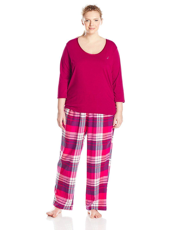 Red flannel nightgown  Nautica Sleepwear Womenus PlusSize Flannel Yarn Dye Plaid Set