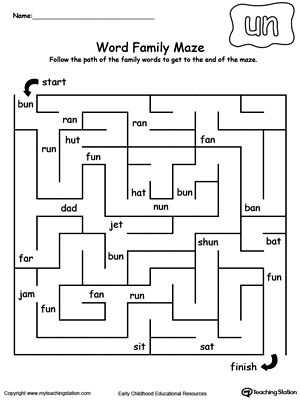 UN Word Family Maze | Maze, Reading and Word families