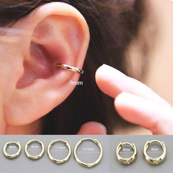 14K gold cartilage hoop earring/Earring/Cartilage hoop ...