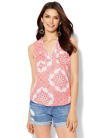 Shop Soho Zip-Front Sleeveless Blouse - Bandana Print . Find your perfect size online at the best price at New York & Company.