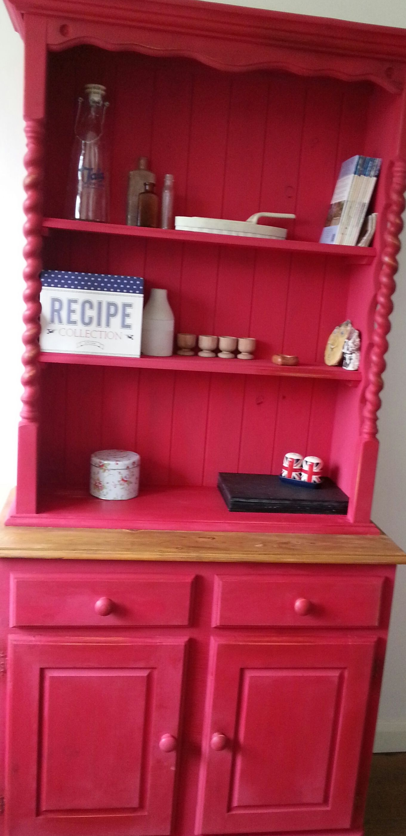 Red Barley Twist Welsh Dresser Delightful Upcycles