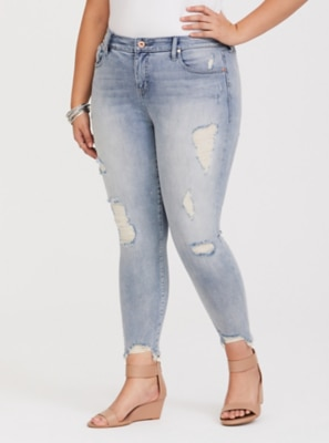 0cbc01e5f0943 Higher-Rise Straight Leg Girlfriend Jeans - Distressed Light Wash in Distressed  Light Wash
