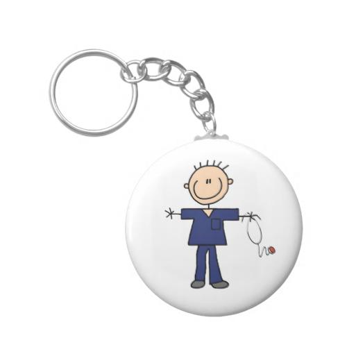 Male Stick Figure Nurse - Blue Keychains | POD Products I Really ...