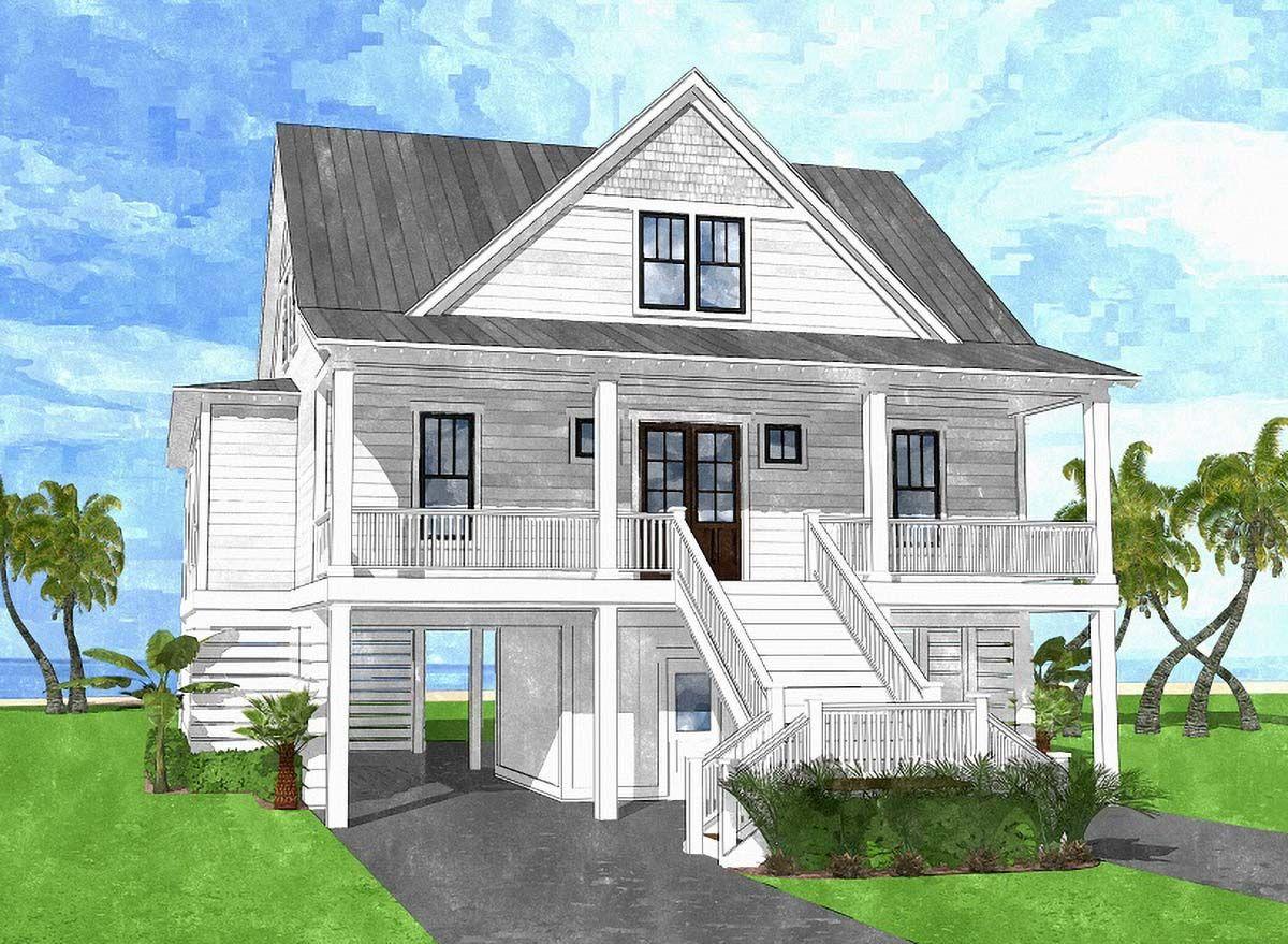 Plan 15218nc Coastal House Plan With Upper Level Bunk Room Coastal House Plans Beach House Floor Plans House On Stilts