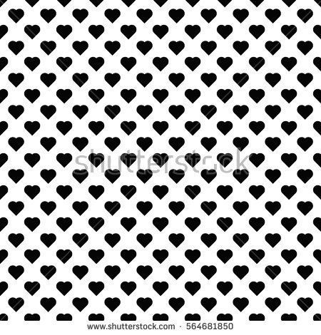 Seamless Pattern With Black Hearts Black Hearts On White