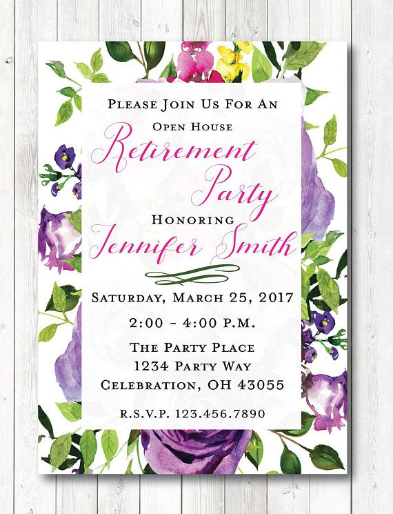 Pleasant Floral Retirement Invitation Retirement Open House Download Free Architecture Designs Scobabritishbridgeorg