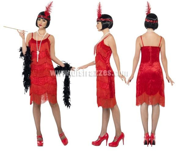 2d24e4edc Disfraz de Flapper Locos años 20 Negro para Mujer talla L 44 46. Disfraz de  Charlestón de Alta Calidad. Incluye Vestido y Cinta de Cabeza co.