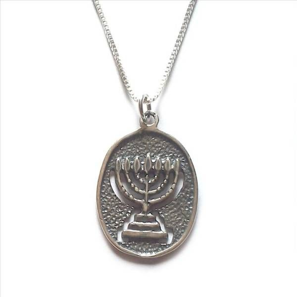 Sterling Silver Menorah Jewish Jerusalem Temple Necklace Israel My