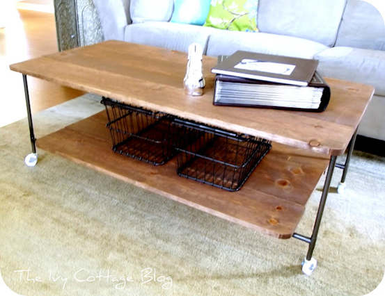 DIY wood copper piping table Id use different casters though