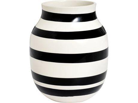 Kähler 11962  Vase Hvid, Sort 20 cm 1 stk.