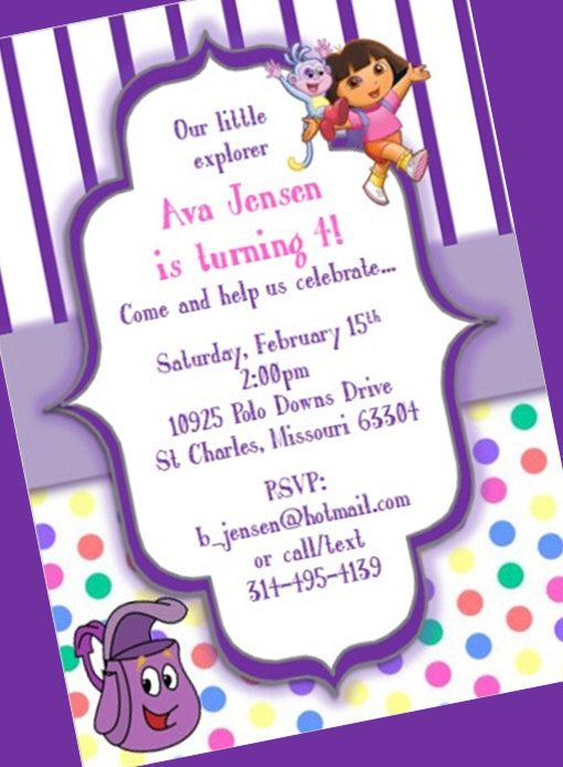 Dora the Explorer Birthday Party Invitation by yourdayinvites, $1.75