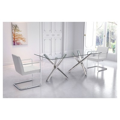 Modern 79 Rectangular Tempered Glass And Chrome Grey Stainless Steel Dining Table Zm Ho Stainless Steel Dining Table Chrome Dining Table Steel Dining Table