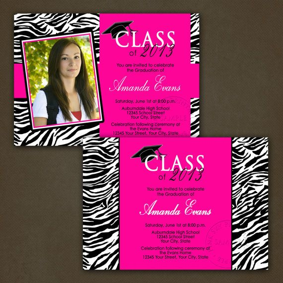 Zebra and hot pink graduation invitations by pinkskyprintables items similar to zebra and hot pink graduation invitations printable file on etsy filmwisefo