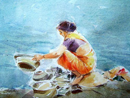 Tea Stall Watercolor Composition Drawing Bfa Entrance Exam