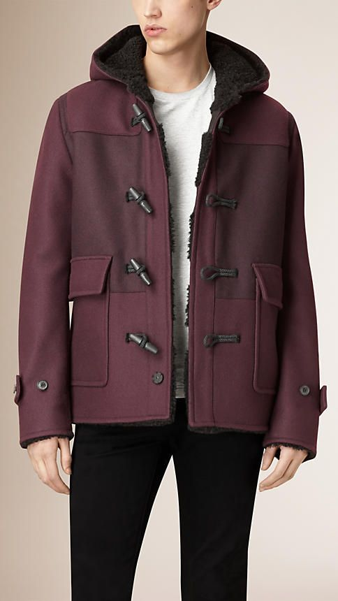 Dark blackcurrant Shearling-lined Wool Blend Duffle Coat