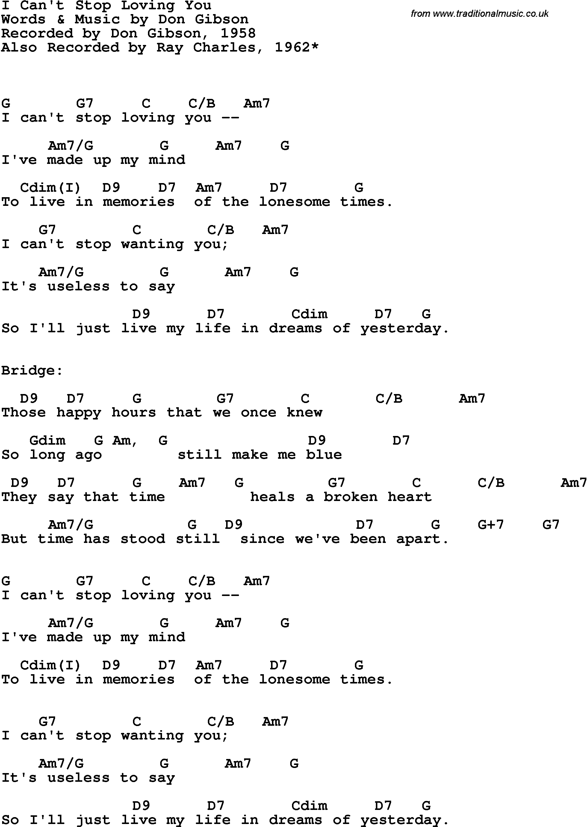 Song Lyrics With Guitar Chords For I Cant Stop Loving You Ray