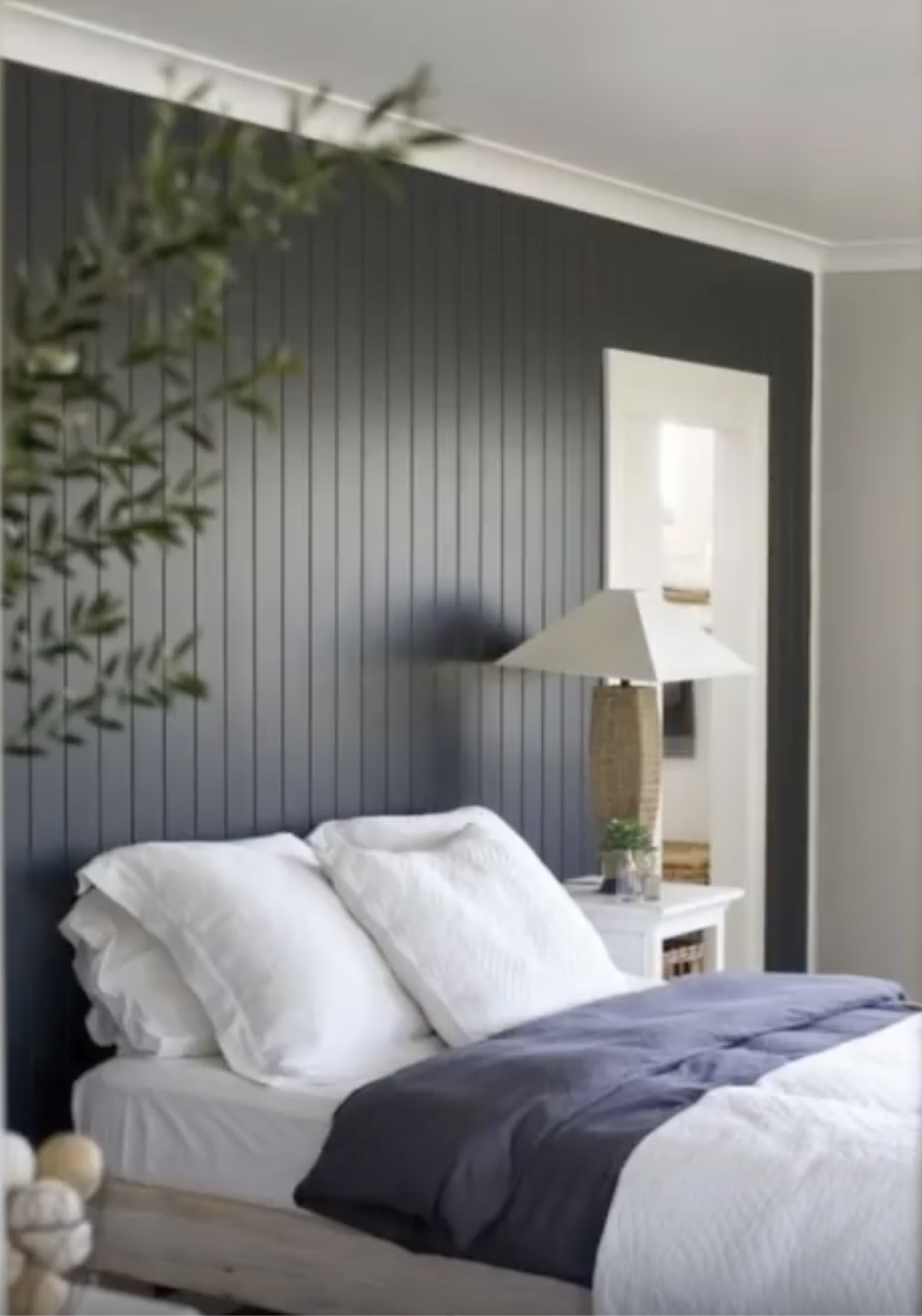 Paint Beadboard Dark With White Trim Bedroom Panel