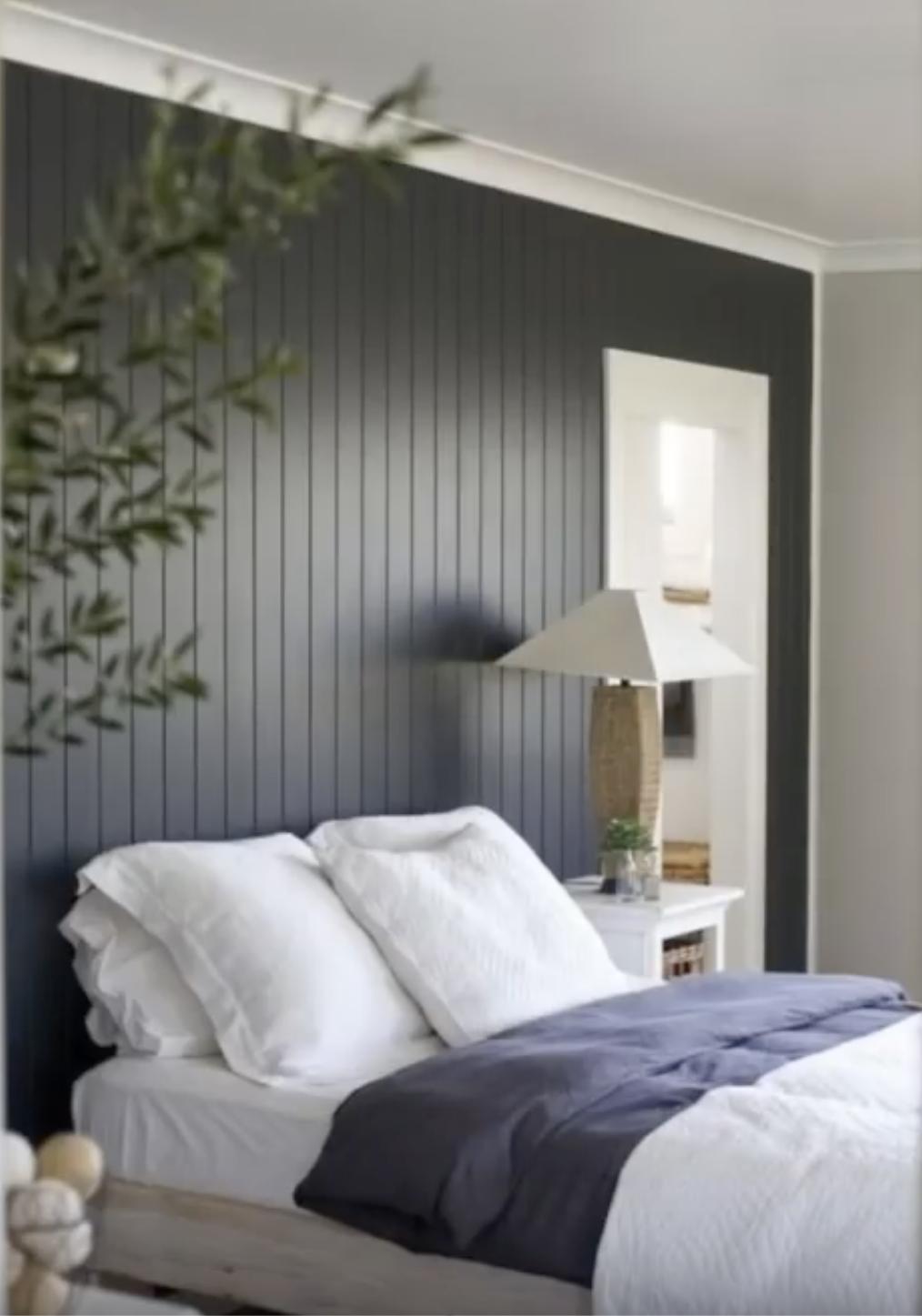 Paint beadboard dark with white trim. Bedroom panel