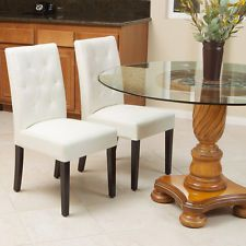 Merveilleux Set Of 2 Elegant Ivory White Leather Dining Room Chairs W/ Tufted Backrest