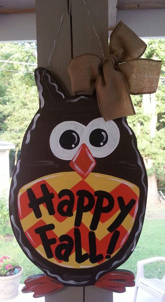 Owl door hanger fall door decoration by Thepolkadotteddoor ...