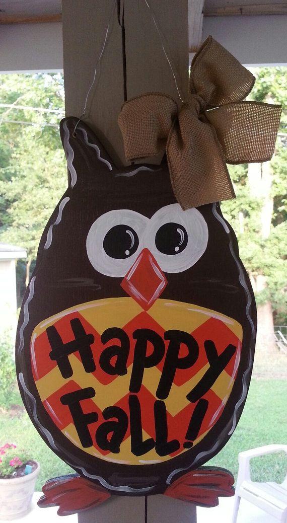 Owl door hanger fall door decoration by Thepolkadotteddoor ...