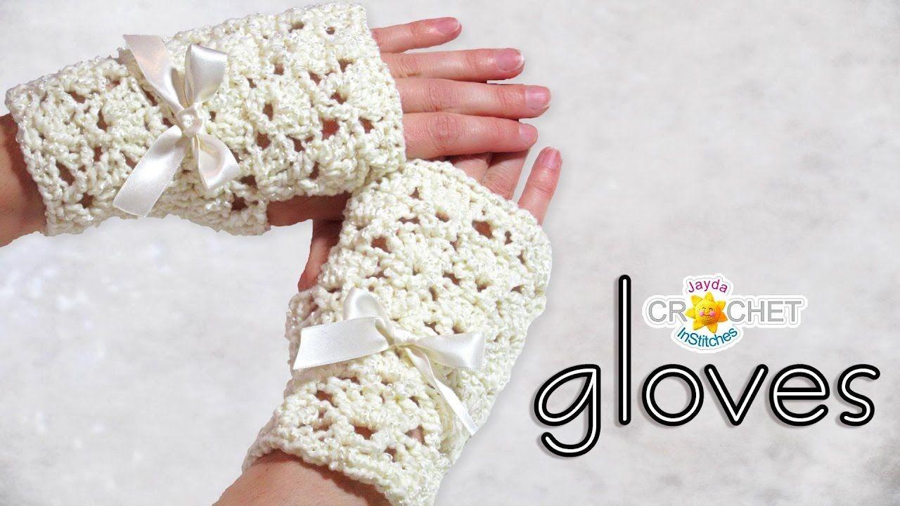 Crochet Bridal Fingerless Gloves - Classic Fan Stitch / Lace Pattern ...