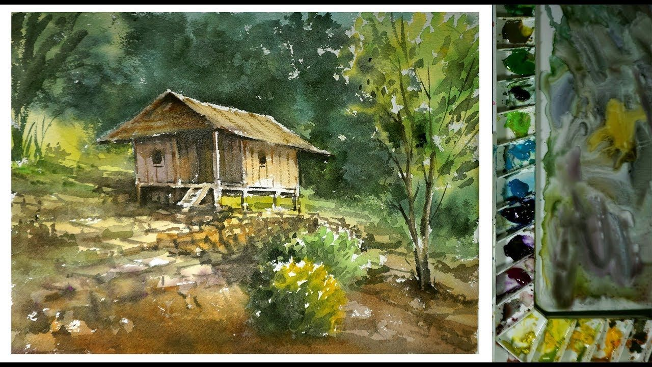 Watercolor Painting Village House In Countryside Youtube Watercolor Landscape Paintings Landscape Paintings Painting