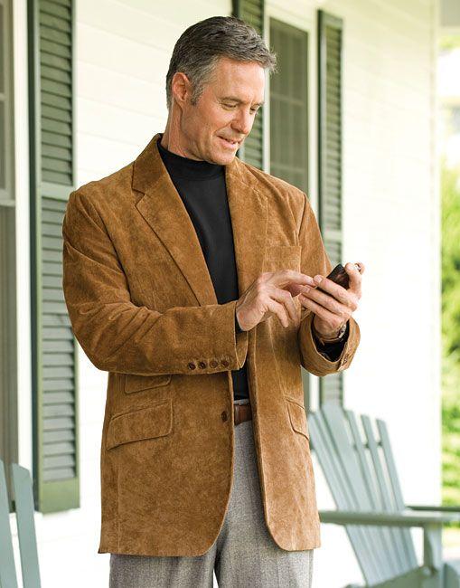 Mens Suede Sport Coat Blazer - Coat Nj