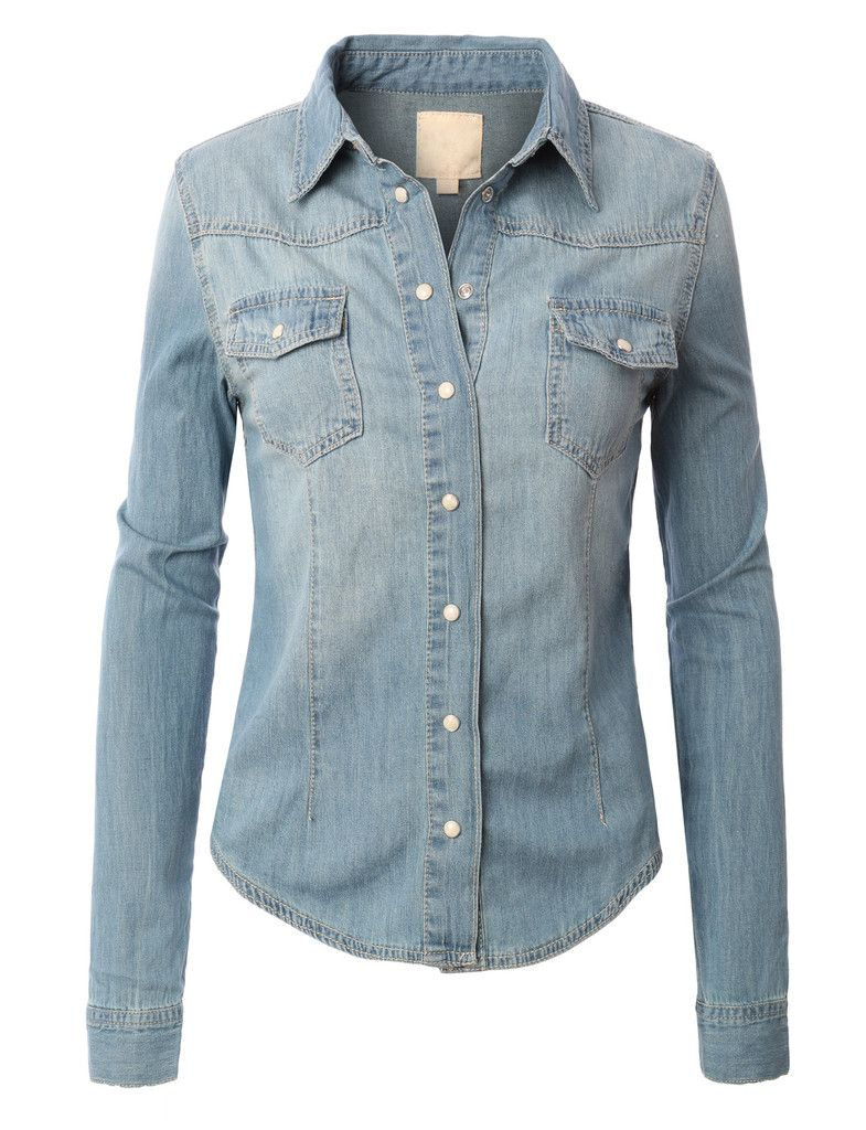 bf3808d0bfb LE3NO Womens Vintage Button Down Denim Shirt with Front Pockets ...