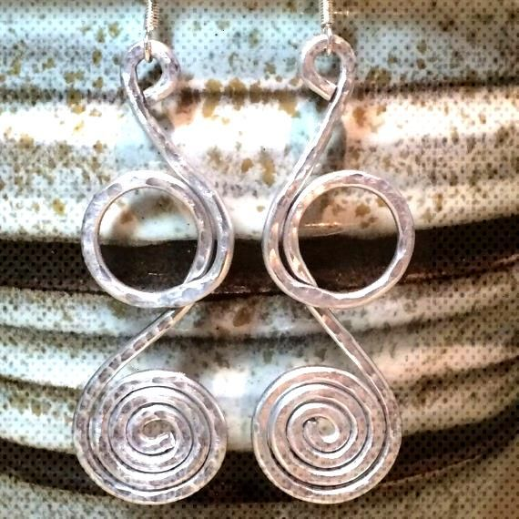silver hammered earringswire wrapped earringssilver wire