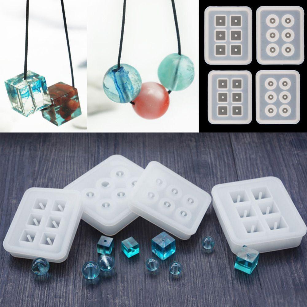 Transparent rectangle silicone perle moule carr boule 6 suspendus trous r sine bijoux making - Bijoux en resine ...