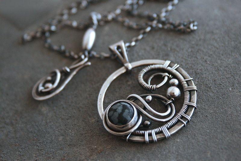 Eire | Wire-work necklace with snowflake obsidian by Yeske-crafts.deviantart.com on @DeviantArt