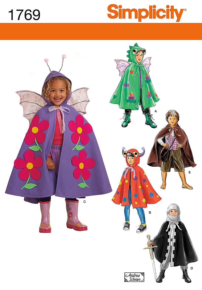 simplicity 1769 from simplicity patterns is a childs cape costumes sewing pattern - Halloween Costume Patterns For Kids