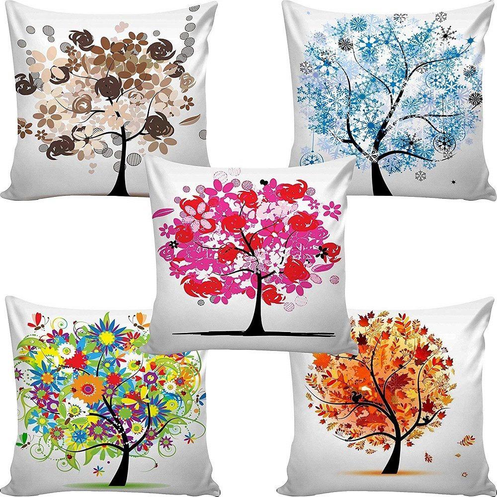 Velvet Designer Floral 3d Digital Print 16 X 16 Set Of 5 Cushion Covers Cidizy Cushion Covers Online Printed Cushion Covers Cushions On Sofa