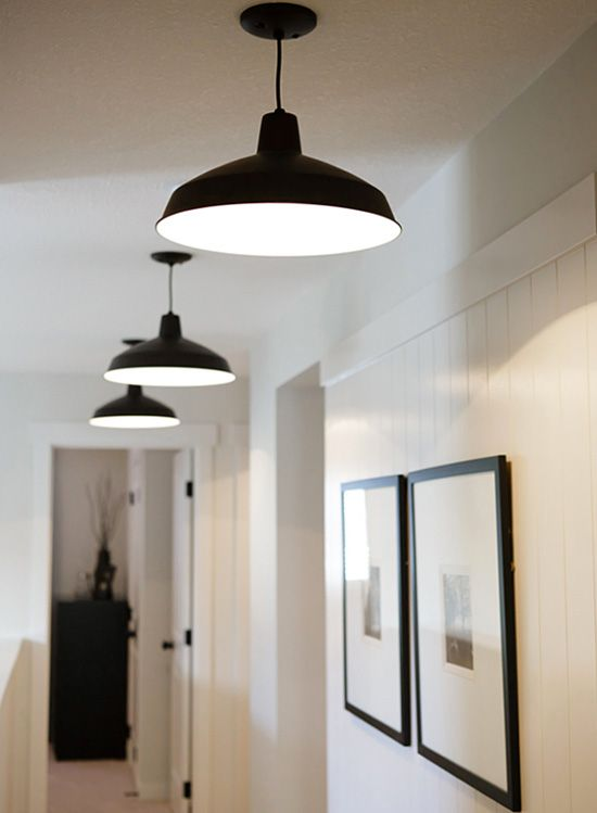 best hallway lighting. Love The Clean Simplicity ~ Warehouse/Barn Pendant Lighting And Set Of Thin Black Framed Prints With Large White Matting ♥ Hallway Best A