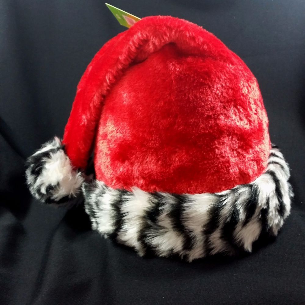 99e71b5f5c853 Santa Claus Zebra Hat Christmas Stocking Animal Print Striped Cuff Adult  Red  SantasProCreations  Christmas